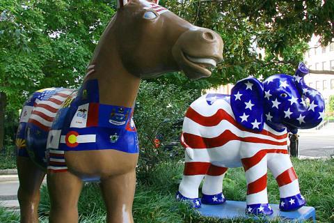 The symbols of the Democratic (donkey) a