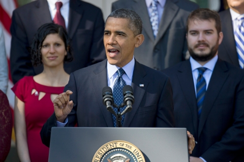 President Barack Obama gestures while speaking in the Rose Garden of the White House in Washington, D.C., on Oct. 21, 2013, on the initial rollout of the health care overhaul.