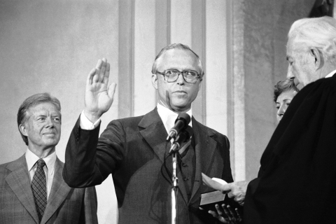 Benjamin Civiletti takes the Oath of Office of Attorney-General during a ceremony at the Justice Department in Washington, D.C., on Aug. 16, 1979.