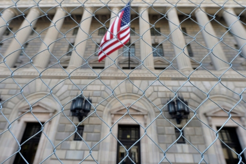 A fence surrounds the U.S. Department of Commerce in Washington
