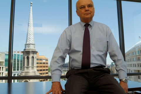Retired U.S. Air Force General Hayden is pictured in his office in Washington
