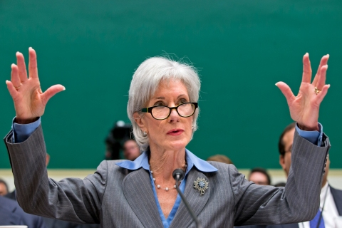 Health and Human Services Secretary Kathleen Sebelius gestures while testifying on Capitol Hill in Washington, Wednesday, Oct. 30, 2013, before the House Energy and Commerce Committee hearing on the difficulties plaguing the implementation of the Affordable Care Act.