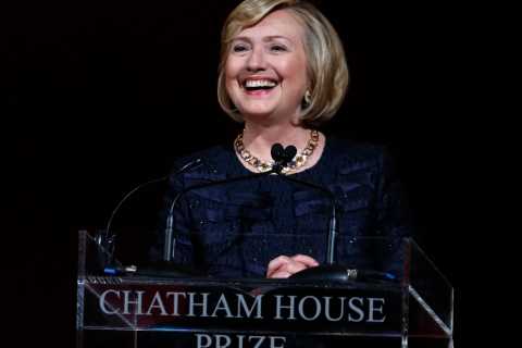 Former U.S. Secretary of State Hillary Clinton speaks after receiving the Chatham House prize at the banqueting hall in central London