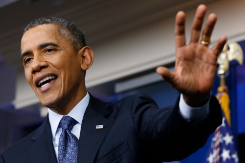 U.S. President Obama speaks about continuing government shutdown during White House news conference in Washington
