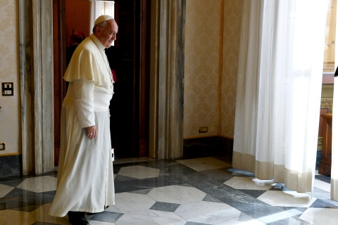 Pope Francis is pictured after a meeting with German President of the European Parliament Schultz at the Vatican
