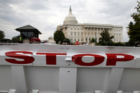 A security barricade stops traffic on the Senate side of the U.S. Capitol in Washington