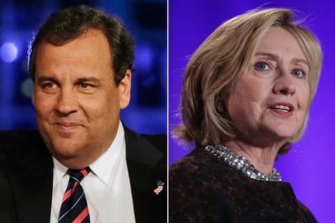 N.J. Gov. Chris Christie and former Secretary of State Hillary Clinton