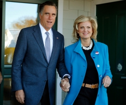 Former Republican presidential nominee Mitt Romney and his wife Ann leave a polling station after voting in Belmont, Mass., on Nov. 6, 2012.