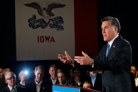 Republican presidential candidate and former Massachusetts Governor Mitt Romney addresses supporters at his Iowa Caucus night rally in Des Moines Iowa