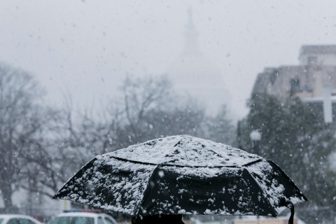 Winter Storm Brings Snow To DC Area