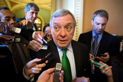 Senator Durbin arrives for the Democrat policy luncheon on Capitol Hill in Washington