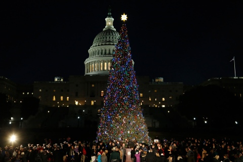 People gather for the lighting of the U.S. Capitol Christmas Tree in Washington