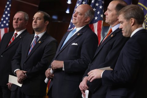 From left: Rep. Steve Scalise, Rep. Marlin Stutzman, Rep. Rep. Steve Southerland, House Ways and Means Committee Chairman Dave Camp and Rep. Jim Jordan hold a news conference at the U.S. Capitol Visitors Center Jan. 8, 2014 in Washington, D.C.
