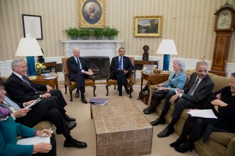 Barack Obama, Joe Biden, , Tina Tchen, Eric Holder, Kathleen Sebelius, Barack Obama, Joe Biden, Chuck Hagel, Arne Duncan, Valerie Jarrett