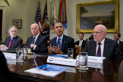 From left: U.S. President Barack Obama, Robert Bauer, Vice President Joe Biden, and Benjamin Ginsberg and other members of the Presidential Commission on Election Administration in the Roosevelt Room of the White House in Washington, D.C., on Jan. 22, 2014.