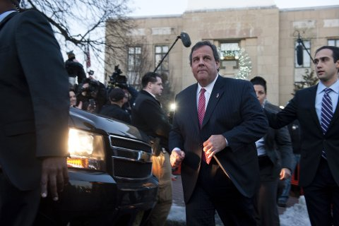 New Jersey Gov. Chris Christie departs Borough Hall in Fort Lee, N.J.