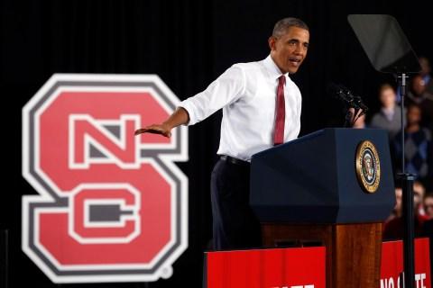 U.S. President Barack Obama speaks at North Carolina State University in Raleigh