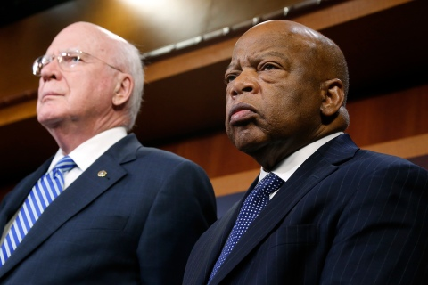 U.S. Senator Patrick Leahy is joined by Representative John Lewis as they announce legislation to restore key provisions of the Voting Rights Act, in Washington