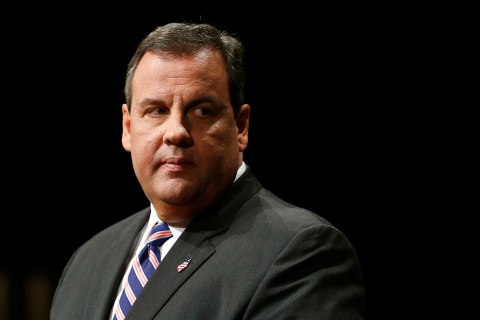 New Jersey Governor Chris Christie delivers as address after being sworn in for his second term as governor