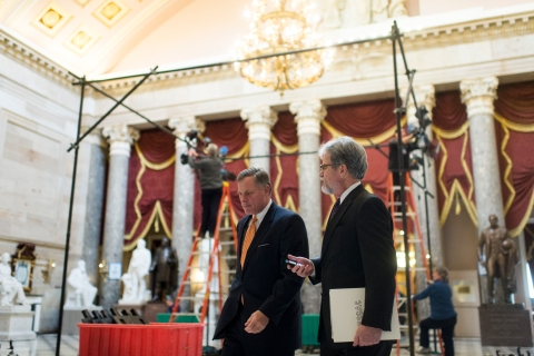 From left: Senator Richard Burr and Senator Tom Coburn walk through Statuary Hall in the Capitol ahead of the State of the Union on Jan. 28, 2014 in Washington, D.C.