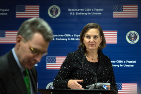 US State Department Assistant Secretary of State for European and Eurasian Affairs Victoria Nuland and US ambassador to Ukraine Geoffrey R. Pyatt  arrive to hold a press conference at the US Embassy in Kiev  on February 7, 2014.