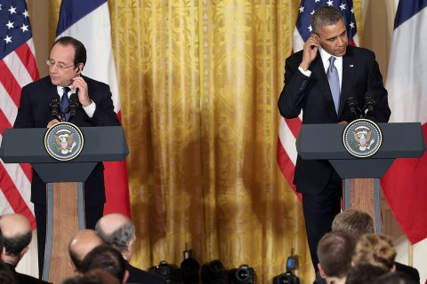 President Obama And President Hollande Hold Joint News Conference In The East Room