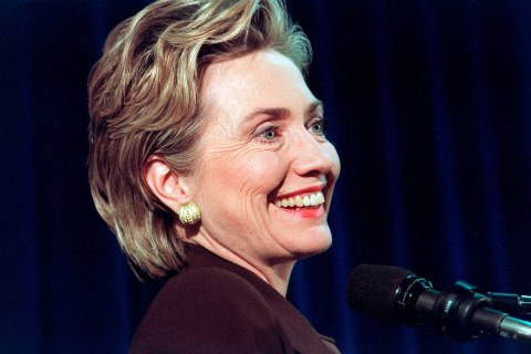Then-First Lady Hillary Clinton announces she will run for Senate in New York, Nov. 23, 1999.