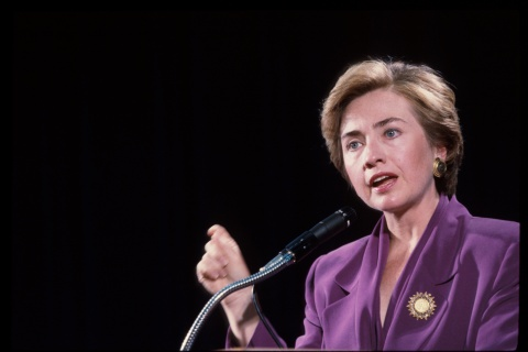 Then-First Lady Hillary Clinton speaks at George Washington University September 10, 1993 in Washington.