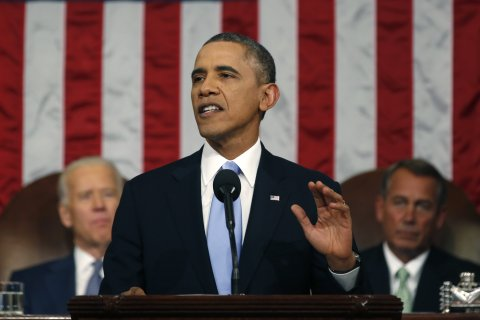 U.S. President Barack Obama delivers his State of the Union speech on Capitol Hill in Washington, D.C., on  Jan. 28, 2014.